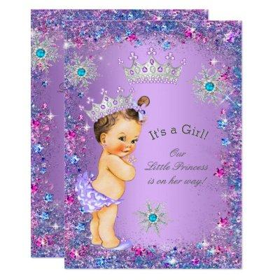 Princess Baby Shower Purple Teal Blue Pink Invitations