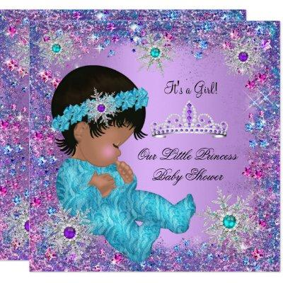 Princess Baby Shower Teal Blue Purple Pink Ethnic Invitations