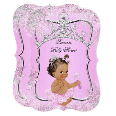 Princess Baby Shower Wonderland Pink Brunette Invitations