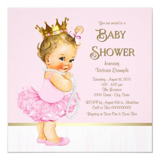 princess ballerina pink gold invitations