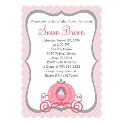 Princess Carriage Pink & Gray Baby Girl Invitation