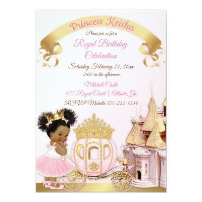 Princess Castle Carriage Pink Gold Girl Photo Invitation