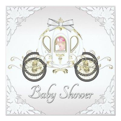 Princess Coach and Roses White Baby Shower Invitation