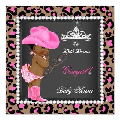 Princess Cowgirl Baby Shower Pink Brown Ethnic Invitations