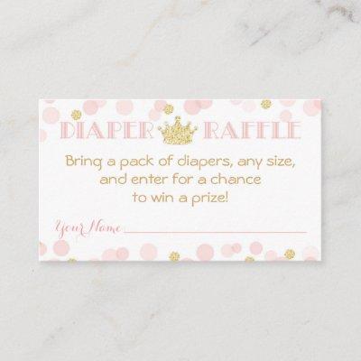 Princess Crown Baby Shower Diaper Raffle Ticket Enclosure Card