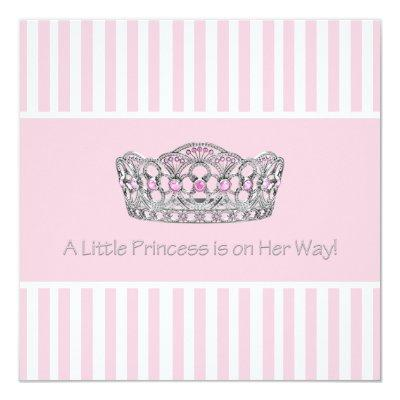 Princess Crown Pink White Baby Shower Invitation