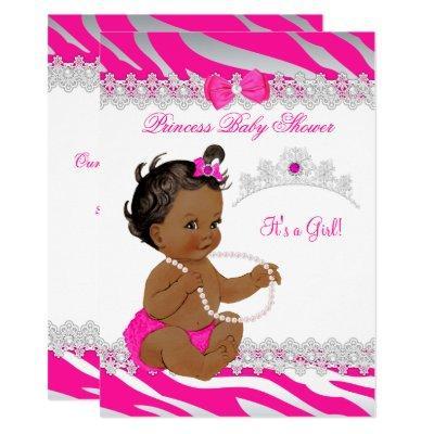 Princess Girl Baby Shower Hot Pink Zebra Ethnic Invitation