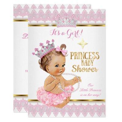 Princess Girl Baby Shower Pink Gold Tutu Brunette Invitations