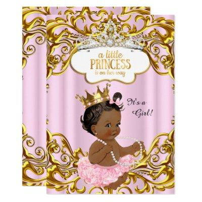 Princess is on her way Baby Shower Pink Ethnic Invitations