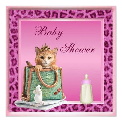 Princess Kitten Pink Faux Leopard Fur Baby Shower Invitation