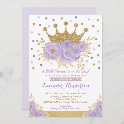 Princess Lavender Gold Floral Crown Baby Shower Invitation