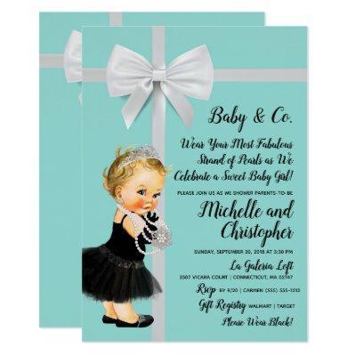 Princess Little Black Dress Blue Baby Shower Invitation