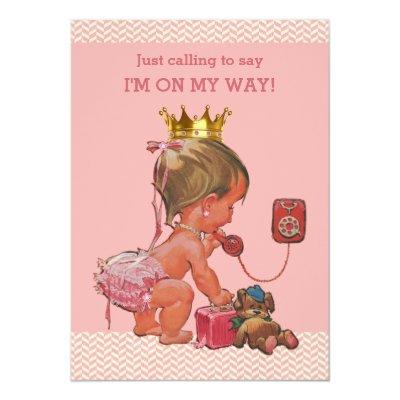 Princess on Phone Chevrons Pink Invitations