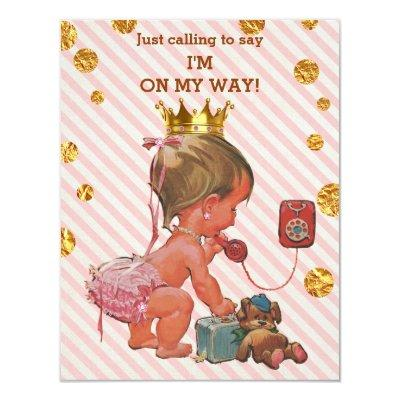 Princess On Phone Stripes Gold Spots Baby Shower Invitation