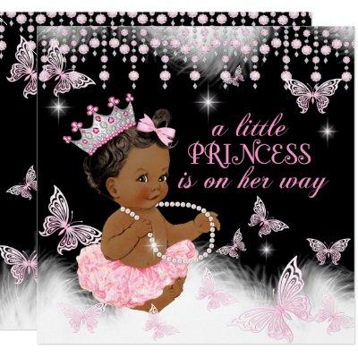 Princess Pink Butterfly Baby Shower Ethnic Invitations