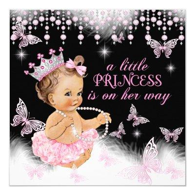 Princess Pink Butterfly Girl Cute Invitations