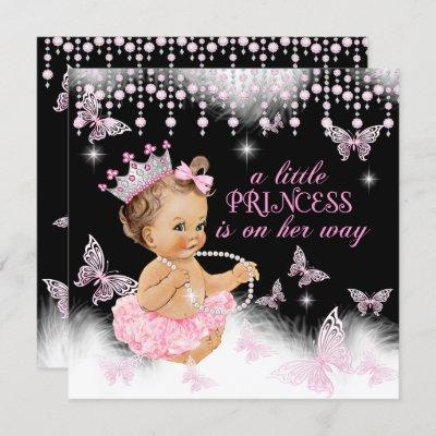 Princess Pink Butterfly Girl Baby Shower Cute Invitation