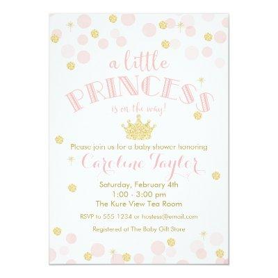 Princess Pink Gold Glitter Baby Shower Invitation