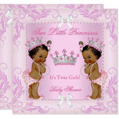 Princess Pink Pearls Twin Baby Shower Tiara Ethnic Invitations