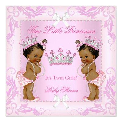 Princess Pink Pearls Twin Tiara Ethnic Invitations