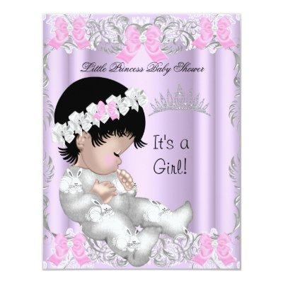 Princess Pink Purple Gray Baby Shower Cute Girl Invitation