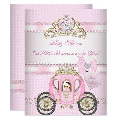 Princess Pretty Baby Shower Cute Girl Carriage Invitation