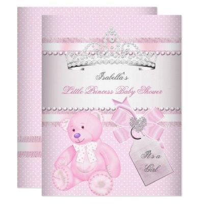 Princess Pretty Baby Shower Cute Girl Tiara Bear Invitation