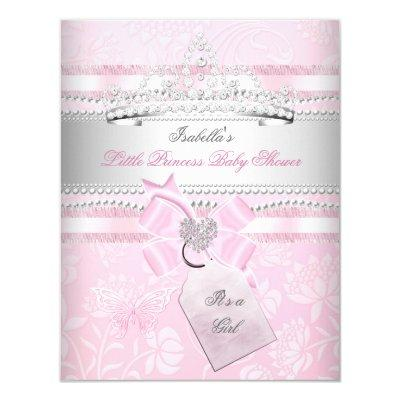 Princess Pretty Baby Shower Girl Butterfly Invitations