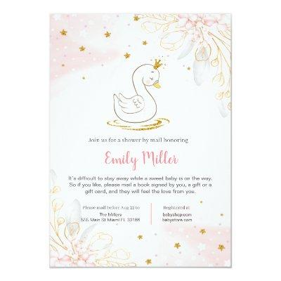 Princess swan baby shower by mail invitation
