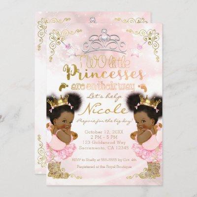 Princess Tutu Crown Ethnic Twin Girls Baby Shower Invitation