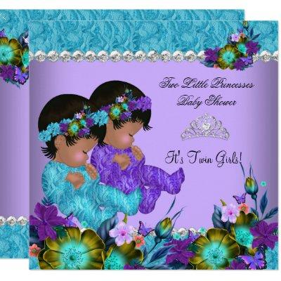 Princess Twin Baby Shower Teal Blue Purple Invitations
