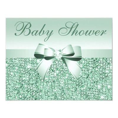 Printed Green Sequins, Bow & Diamond Baby Shower Invitation