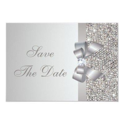 Printed Silver Sequins Bow & Diamond Save the Date Invitations