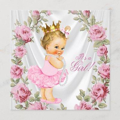 Prncess Rose Baby Shower Invitations
