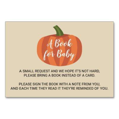 Pumpkin Autumn Fall Baby Shower Book For Baby Card