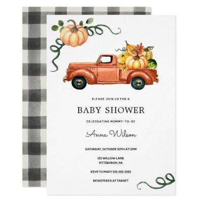 Pumpkin Autumn Truck Baby Shower Invitation
