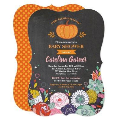 Pumpkin baby girl shower Invitations chalkboard