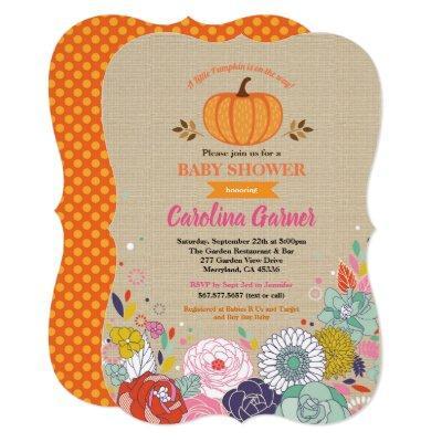 Pumpkin baby girl shower Invitations flower burlap