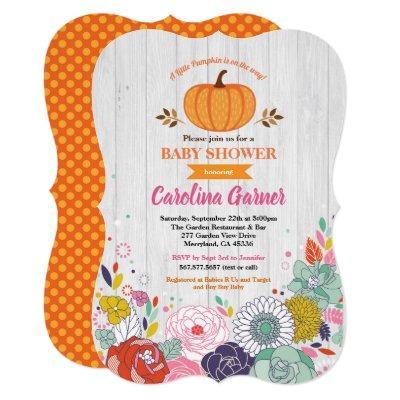 Pumpkin baby girl shower Invitations flower rustic