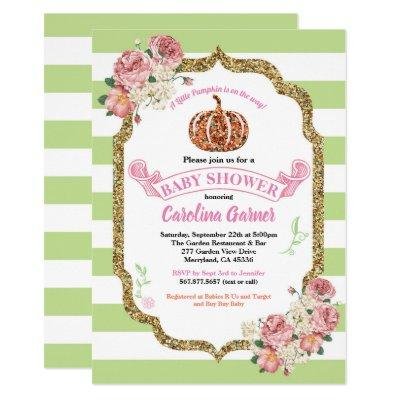 Pumpkin baby girl shower Invitations pink and gold