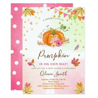 Pumpkin Baby shower Invitations Autumn Fall Pink