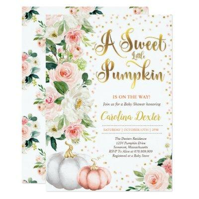 Pumpkin Baby Shower Invitation Blush Pink And Gold