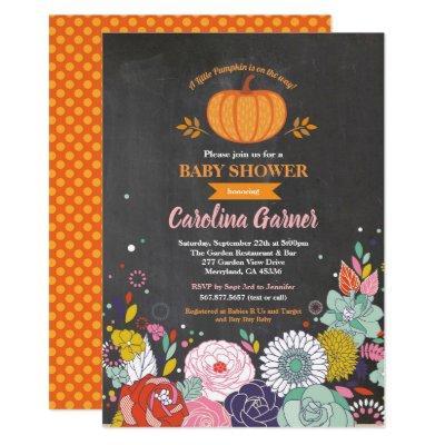 Pumpkin baby shower Invitations chalkboard girl