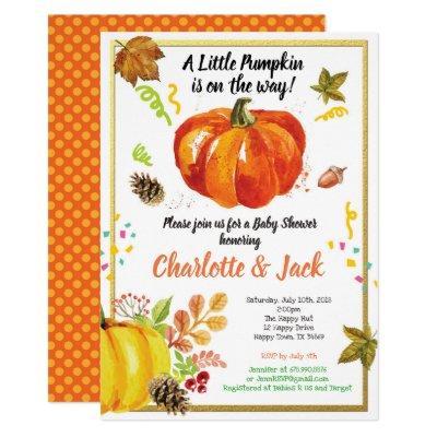 Pumpkin baby shower Invitations chic gold