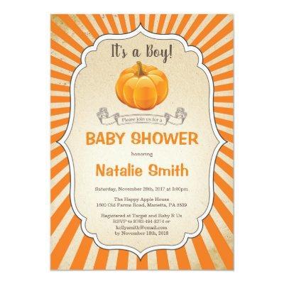 Pumpkin Baby Shower Invitation Fall Autumn Boy