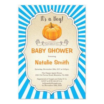 Pumpkin Baby Shower Invitations Fall Autumn Boy