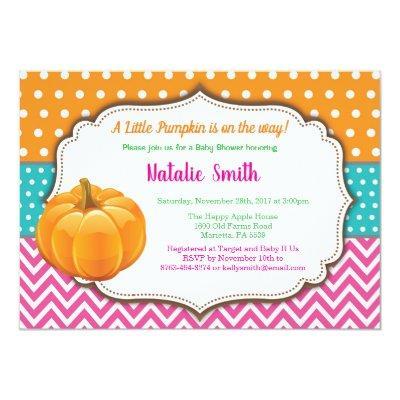 Pumpkin Baby Shower Invitation Fall Autumn Girl
