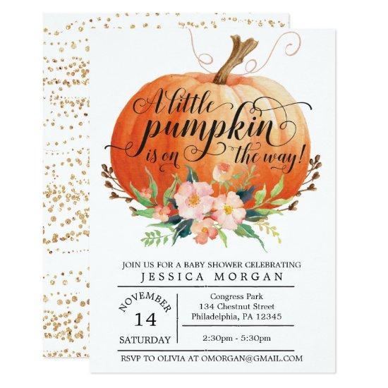 Pumpkin Baby Shower Invitations - Fall Baby Shower