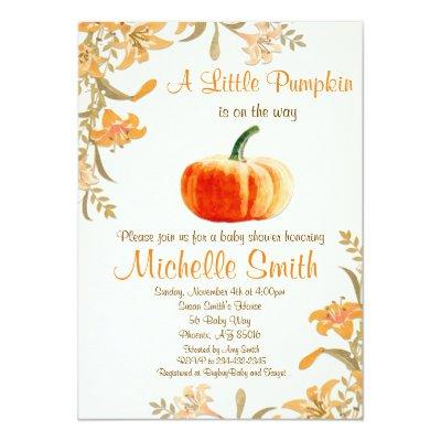 Pumpkin Baby Shower Invitations, Little Pumpkin Invitations