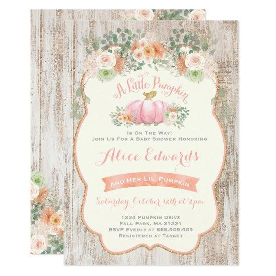 Pumpkin Baby Shower Invitations Rustic Pumpkin